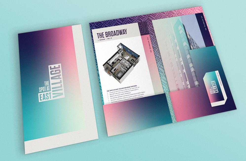 The Spot At East Village folder package design