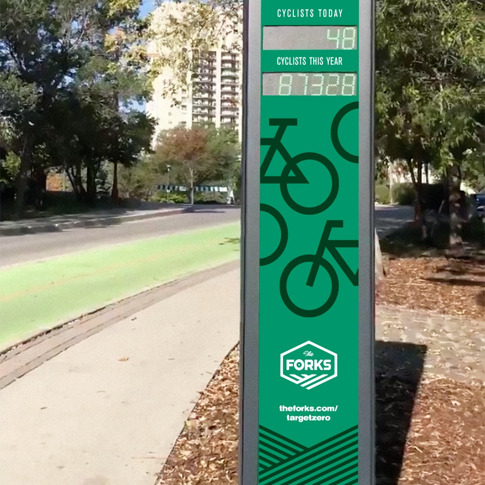The Forks cyclist sign