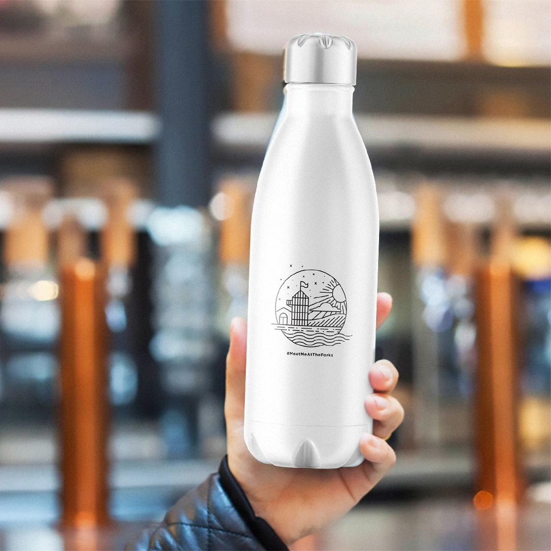 The Forks Market bottle design merchandise